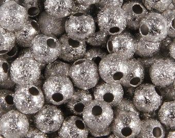 50 pearls silver stardust 4mm round