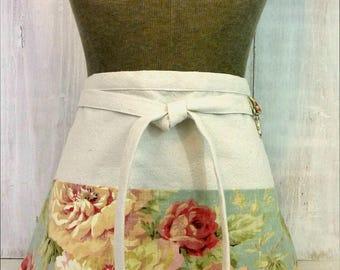 Shabby Chic Women's Apron - Blue Half Apron - Pink Roses - Vendor - Teacher - Gardener