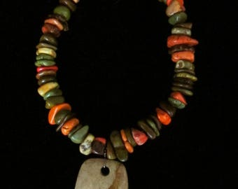 """Turquoise and Jasper Necklace, 17"""""""