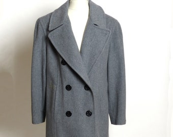 Vintage Circa 1980s Mackintosh of New England Grey 100% Wool Double-Breasted Coat