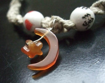 Moon and Star with Ceramic Beads