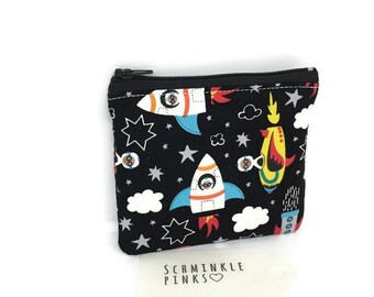 Rockets Coin Purse, Boys Coin Pouch, boys Purse, Card Purse, Childs Purse, Zipper Pouch, Boys Wallet, Change Purse