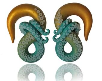 "Gold and Turquoise Ombré Kraken Octopus Tentacle Gauges - Fake Gauge, 4g, 2g, 0g, 00g, 7/16"", 1/2"", 9/16"", 5/8"" - Octopus Earrings  - Gauge"