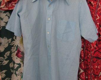 60s Mr. Jordan Pale Blue Short Sleeve Shirt, Men's M // Vintage Short Sleeves Shirt