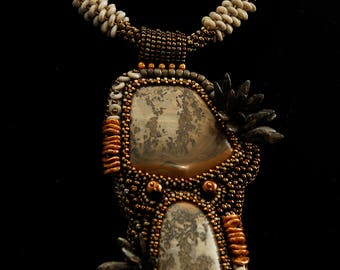 Stramatolite (Fossil) Bead Embroidered Kumihimo Necklace