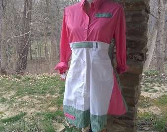 Upcycle New York and Co fitted blouse with white and green Size M boho long tunic refashioned upcycled womens clothing shabby chic hippie