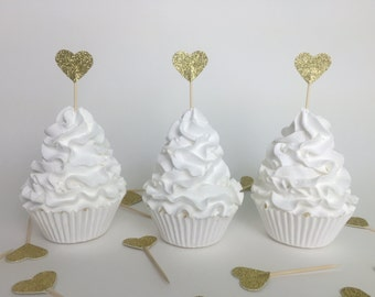 12 Gold glittered heart Cupcake Toppers, Gold Glitter Hearts, Wedding Anniversary or Party Food Picks, Glitter Appetizer Picks