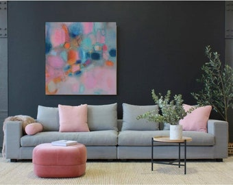 XL Abstract canvas teal blue modern minimalist Extra Large blush turquoise painting for over sofa,giclee landscape abstract teal green pink