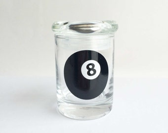 Stash jar,8 BALL,Pool,weed jar, glass stash jar, cute, stoner gift,love sexy kiss girly gift women upscale cannabis Marijuana jar