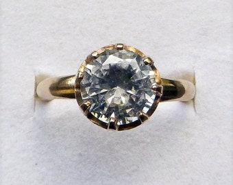 Uncas gold filled dazzling brilliant cut clear gem vintage engagement statement ring size 6.75