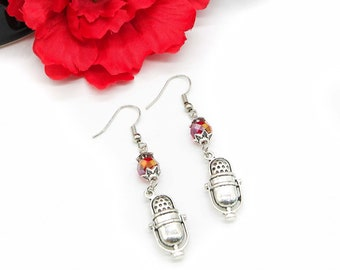 Silver Microphone Charm Earrings with Czech Crystal Beads