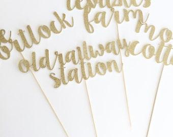Custom Glitter Name Picks for Wedding or Special Event.
