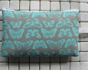 teal butterfly print large padded bag