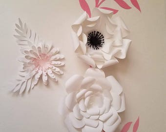 Set of 6, White Paper Flowers, Bridal Shower Decor, Wedding Decor, Nursery Flowers Decor, Wall Decor,