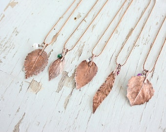 Leaf necklace - jewelry - gift - Leaves - pendant - gift under 25 -  for woman - Bridesmaids Gift - wedding - flavors - bridal