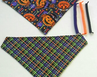halloween reversible pet bandanas, sizes XS-XL, dog scarf, dog bandana, halloween pet scarf, pet wear, no tie, no collar bandana