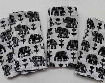 Elephant napkins SET OF 4 black elephants cotton napkins cloth table napkin - hostess gifts - boho