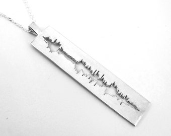 Sounds of Love - Personalized Soundwave Necklace Cut Out Design for Geekery Nerd Music Jewelry, Geek Chic, Hand Carved, Unique Valentine 178