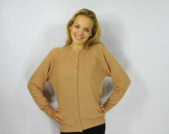 Women's Sand Beige Cardigan Long Sleeve Beads Button Up Caramel Brown Sweater Large Size