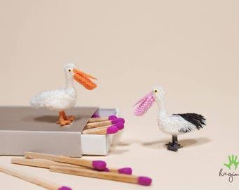 Miniature Pelican crochet, tiny Pelican crochet, amigurumi animals, crochet bird
