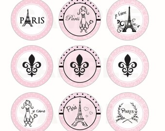INSTANT DOWNLOAD - Paris Parisian Bottle Cap Images - 4x6 Digital Sheet - 1 Inch Circles for Bottlecaps, Hair Bow Centers, & More