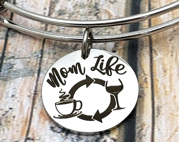 Mom Life Customizable Expandable Bangle Charm Bracelet, choose your charms, create your style, design your bracelet,