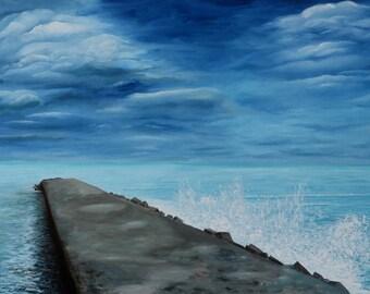 Waiting - HUGE seascape painting