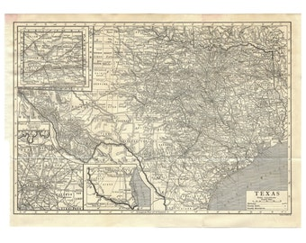Texas, Instant Download Pre-World War I Antique Map 1910, Monochrome, Houston, San Antonio, Dallas, Austin, Fort Worth, up to 278 megapixels
