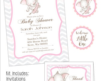 Elephant with Tutu Baby Shower Kit, DIGITAL download