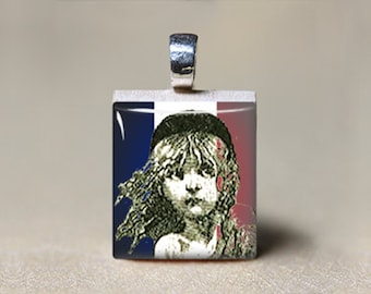 Les Miserables Gift, Cosette French Flag Scrabble Tile Pendant, Les Miserables Jewelry, Les Mis Necklace, Book Lovers Gift, Victor Hugo