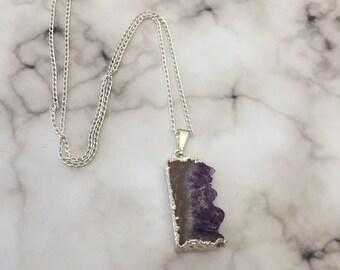 Amethyst necklace / amethyst pendant / amethyst slice necklace