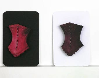 Corset Brooch Red or Maroon Option. Basque Pin, Vaudeville Style Jewelry, Burlesque Accessory, Stocking Filler