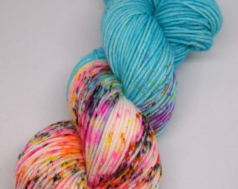 hand dyed yarn, hand painted yarn, handpainted yarn, superwash merino yarn, kettle dyed yarn, dk, speckled yarn, speckle dyed yarn, speckles