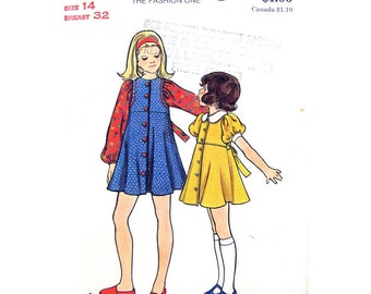 Girls Flared Dress Pattern Butterick 3016 Mini Babydoll Dress Puff Sleeves Tween Girls Size 14 Vintage Sewing Pattern