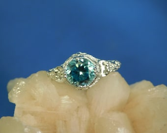 1.74 ct. Round Cambodian Blue Zircon Sterling Silver 1920's Style Filigree Ring