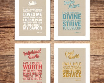 Young Women Values, 8.5x11, 11x17 posters and 5x7 postcards
