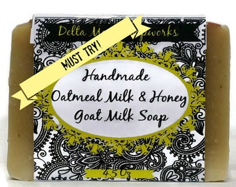 Handmade Goat Milk Soap, Oatmeal Milk & Honey, Soaps, gift for her, birthday gift, ready to ship, cold process, soaps, shea butter soap