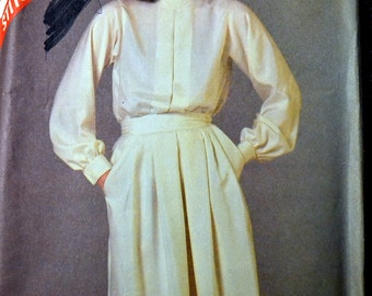Vintage 80's Sewing Pattern McCall's 8737  Misses Blouse and Skirt  Size 14-16-18 Bust 36-38-40 inches Complete Uncut FF