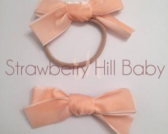 Velvet hand tied bows, hand tied clips, velvet bows, velvet headbands, velvet bow headbands, hand tied headbands