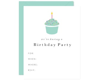 Blank Cupcake Birthday Party Invitations