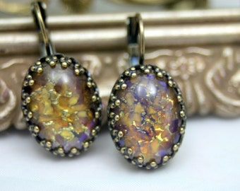 Fire Embers TOPAZ Dragons Breath Fire Opals Stunning Leverback Earrings Enchanting Whimsy