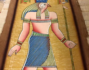 Vintage Hand Painted Papyrus Egyptian God Hours Made In Egypt and signed by the original Egyptian Artist.