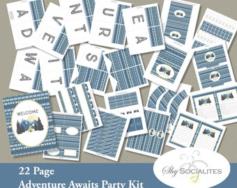 Adventure Awaits Party Kit | 22 Page Printable Party Decorations | Banner, Candy Wrappers, Bottle Wrappers, Favor Bags,  Cupcake Toppers