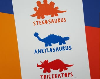Three Dinosaurs Screenprint - Hand Printed, Limited Run (8) - Nursery or Child's Room Art Decor - Orange, Blue, Red
