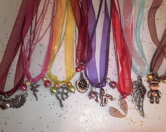 PROMOTION set of 10 necklaces organsa with its charm and wax cord