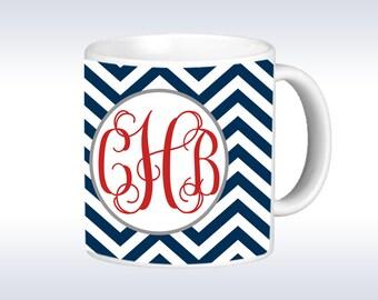 Personalized Coffee Mug - Chevron Monogrammed Mug - Monogram Coffee Mug