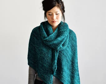 Oversized Knit Scarf, Long Knit Scarf, Teal Shawl, Clothing Gift