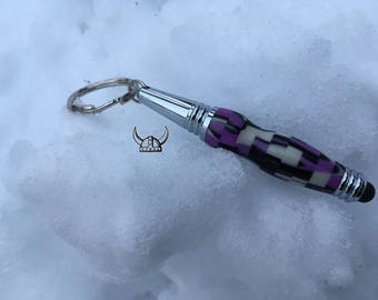 Purple Digital Acrylic Key Chain Pen