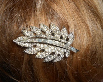 Vintage Rhinestone Feather Leaf Hair Comb