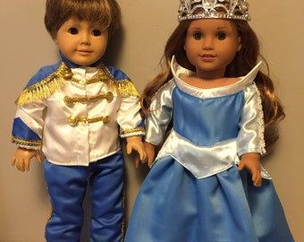 Aurora and Prince Charming  outfit for 18 inch dolls